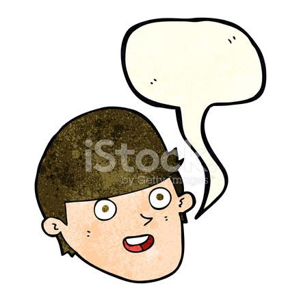 Uomo di cartone animato con grande mento con nuvoletta stock