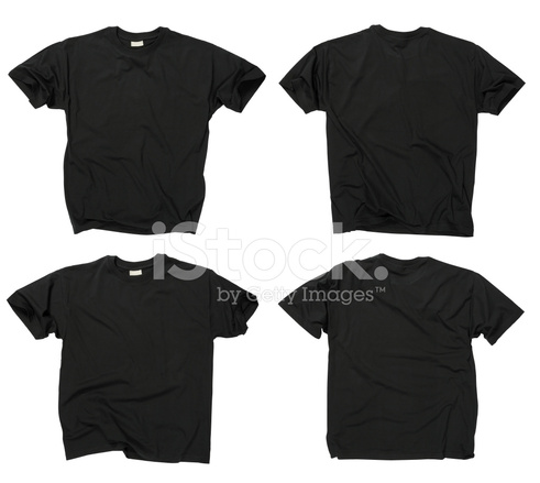 blank black t shirts front and back stock photos