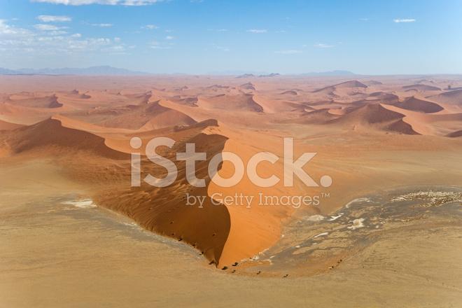 Dune 45 Sossusvlei Desert Sand Dunes Aerial View Stock