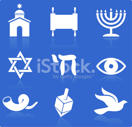 Jewish Religious Items Knockout White Royalty Free Vector Icon S