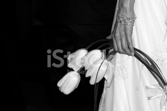Schwarze Und Weisse Lilie Hochzeitsstrauss Im Besitz Der Braut
