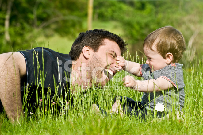 cute little child joke outdoor with dad stock photos freeimages com