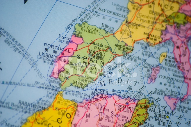 Portugal Spain Map Detail Stock Photos FreeImagescom - Map of portugal spain