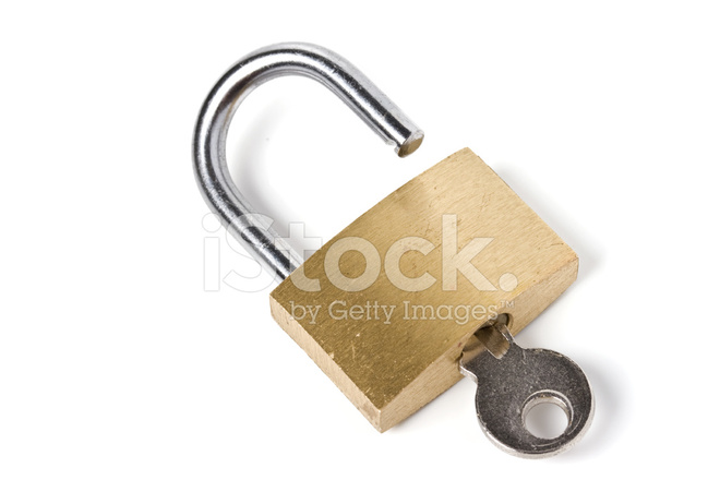 Open Padlock With Inserted Key Isolated Stock Photos ...