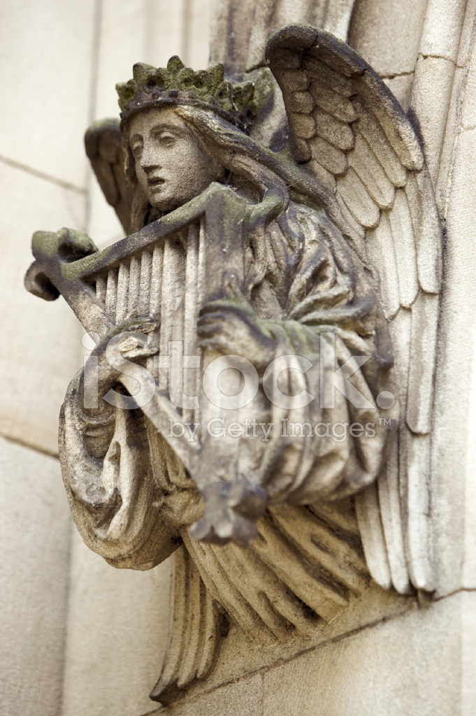 Angel With Harp Stone Carving Stock Photos Freeimages Com