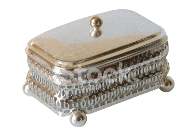 silver treasure chest isolated on white with clipping path stock