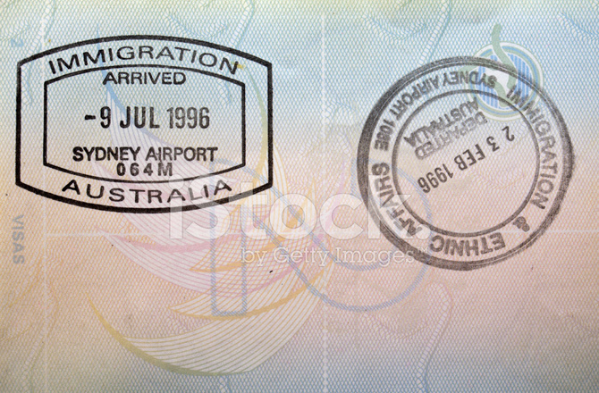 Entry And Exit Stamp From Sydney Australia In British Passport
