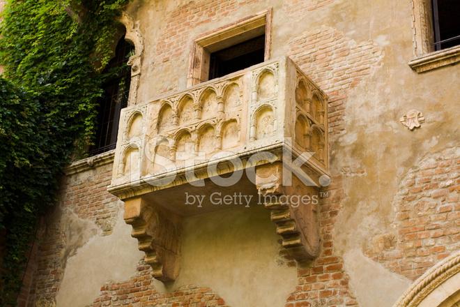 Balkon Von Romeo Und Julia In Verona Italien Stockfotos