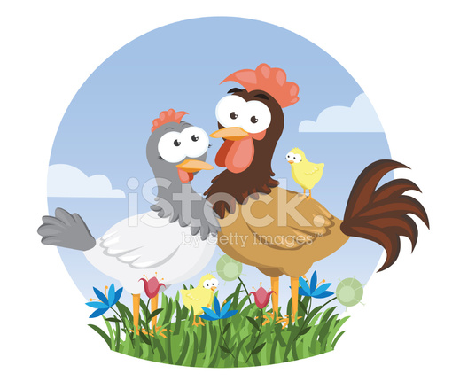 Farm Animals Series Chicken Family Icon Stock Vector