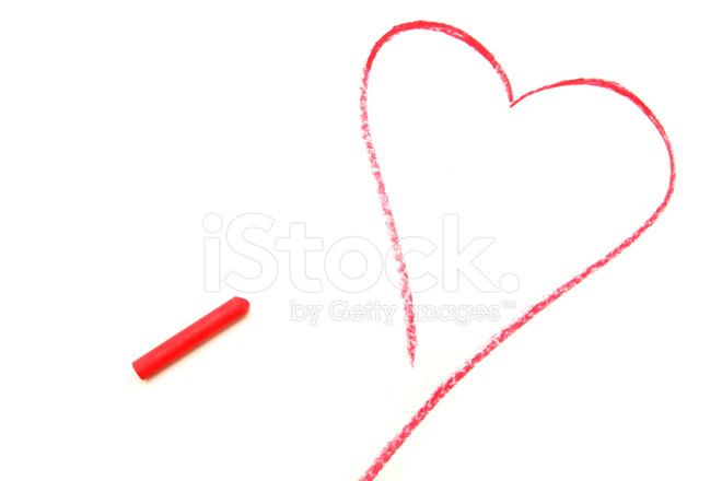 Crayon Pastel Dibujar DE Corazn Rojo fotografas de stock