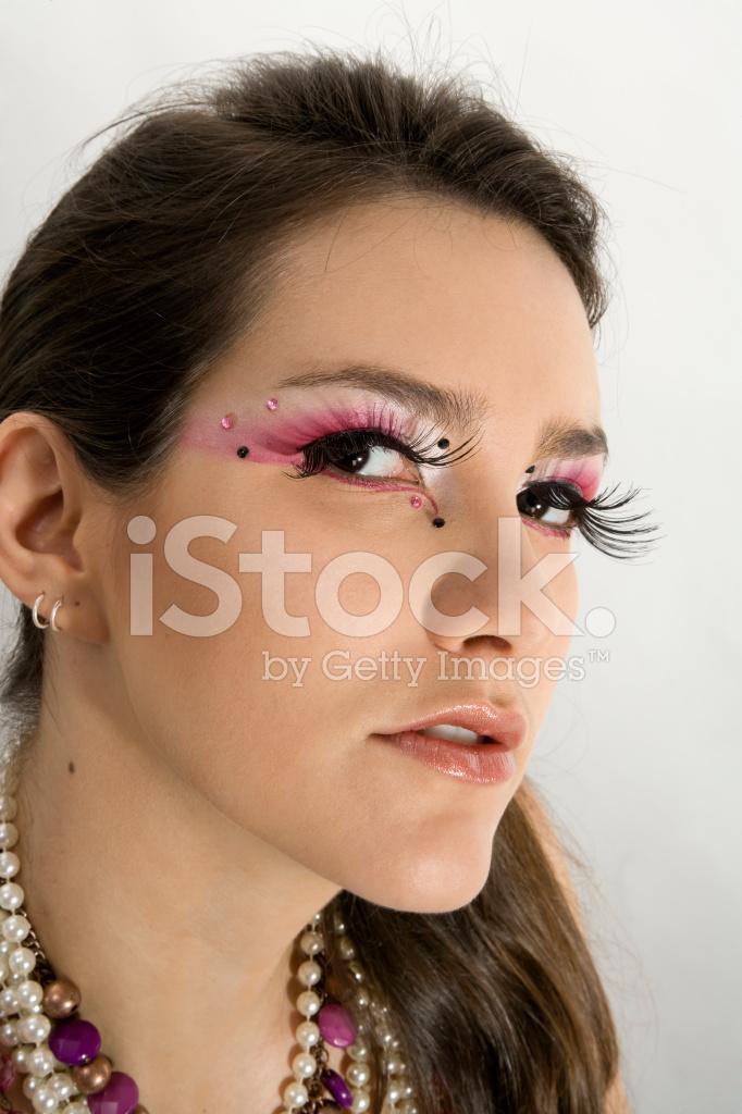 Beautiful Brazilian Model With Extra Long False Eyelashes Stock