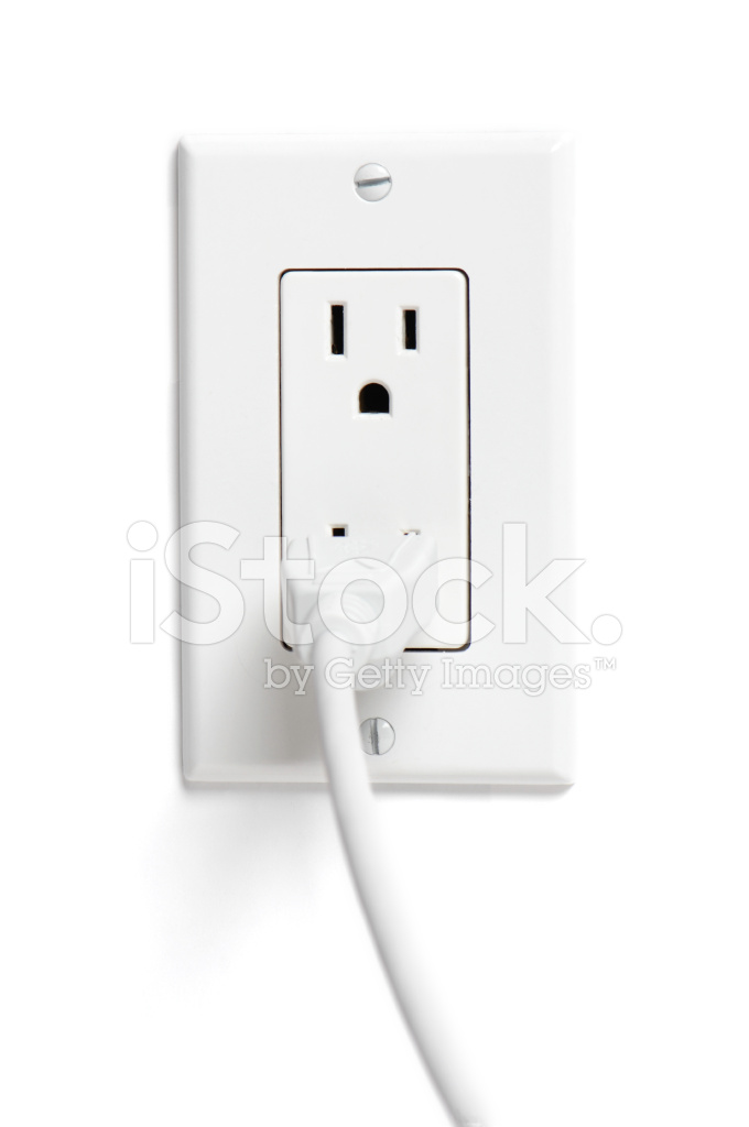 Modern Household Electrical Power Outlet With Plug Cord on White ...