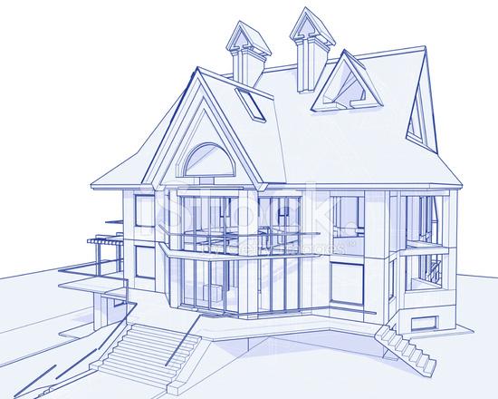 Haus Blaupause: 3d Technisches Konzept Zeichnen