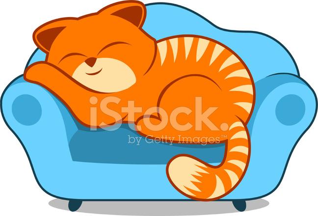 Perezoso Gato Durmiendo En El Sill 243 N Sof 225 Azul A Rayas