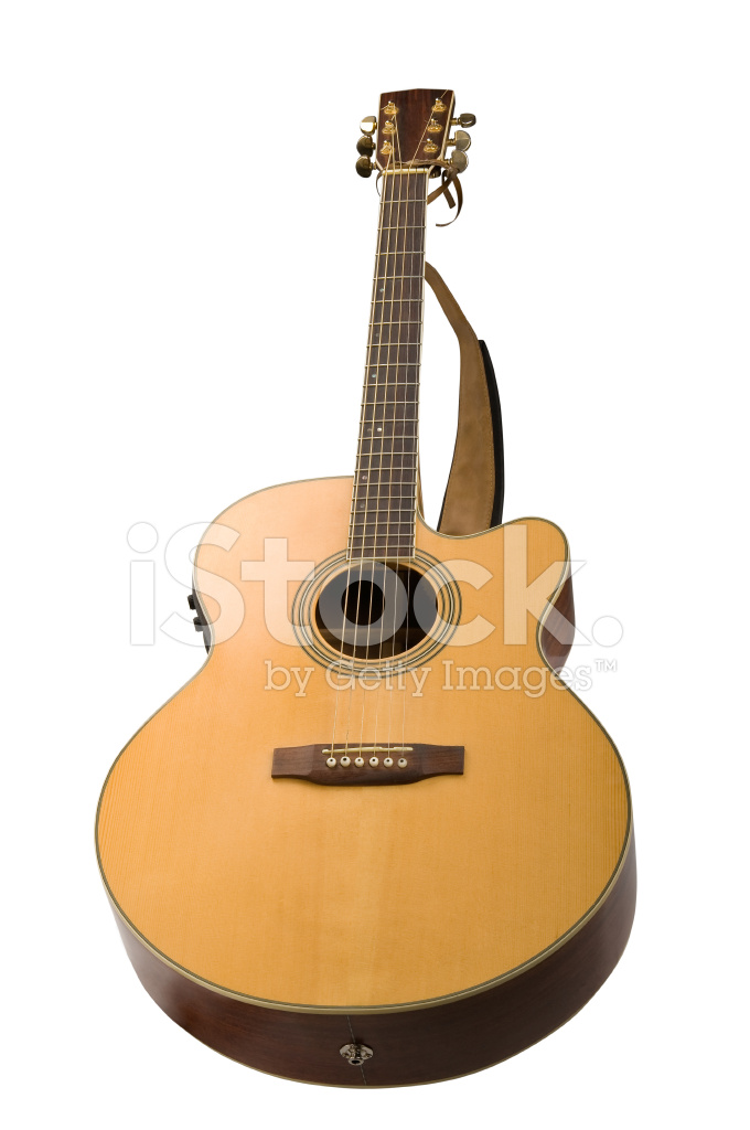 Classical Acoustic Guitar Isolated On White Background Stock Photos