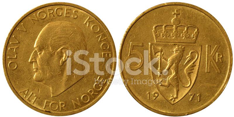 Makro 5 Norwegische Kronen Münzen Stockfotos Freeimagescom