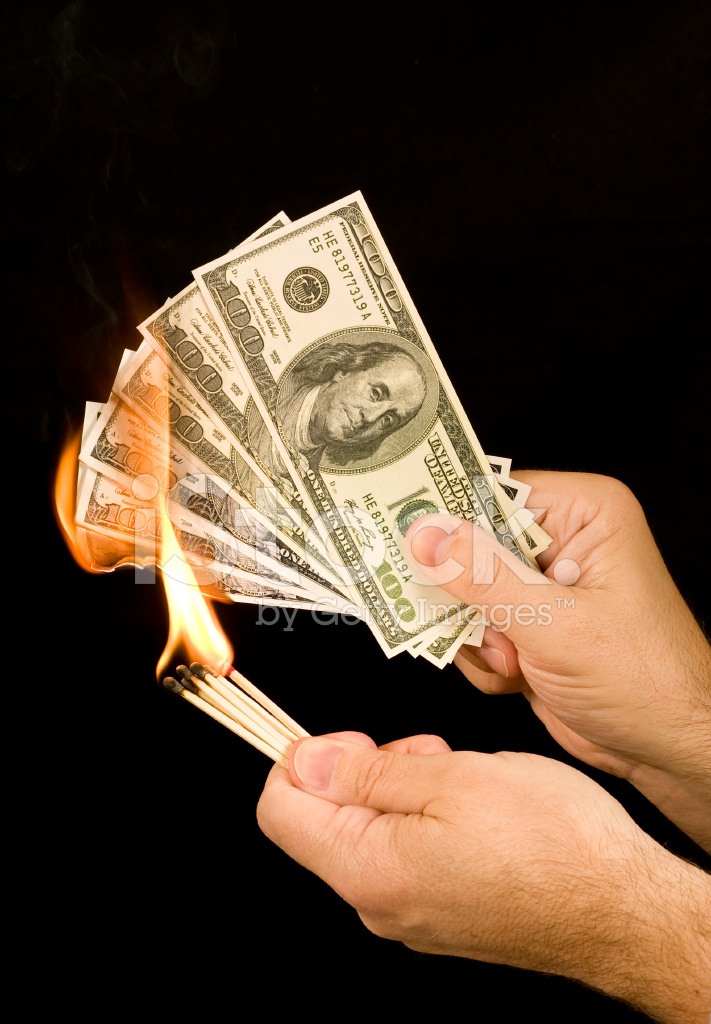 Burning paper money