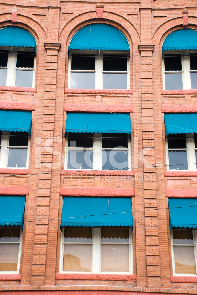 Blue Awnings on Brick Stock Photos - FreeImages.com