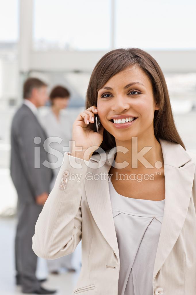 Happy Businesswoman Talking On Mobile Phone Stock Photos
