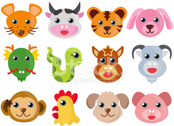 Cute Vector Animal Icons Chinese 12 Zodiac Stock