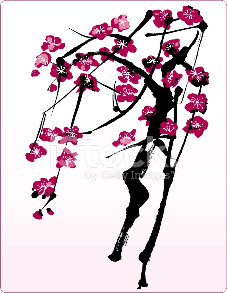 çiçek Ağaç Oryantal Tarzda Boyama Stock Vector Freeimagescom