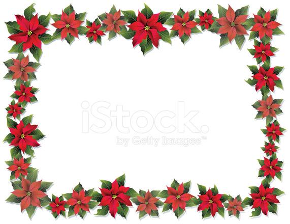 Poinsettia frame stock vector for Poinsettia christmas tree frame