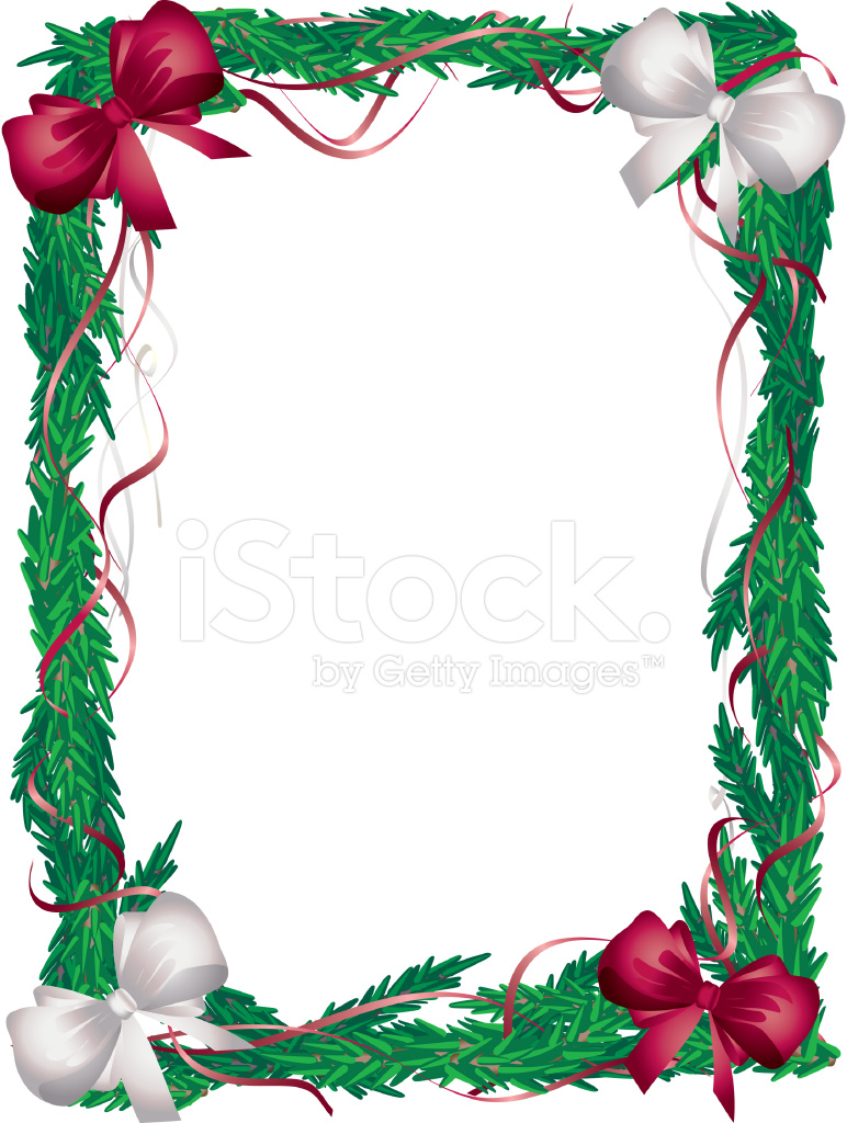 Vertical Christmas Tree Frame Red and White Bows Stock Vector ...