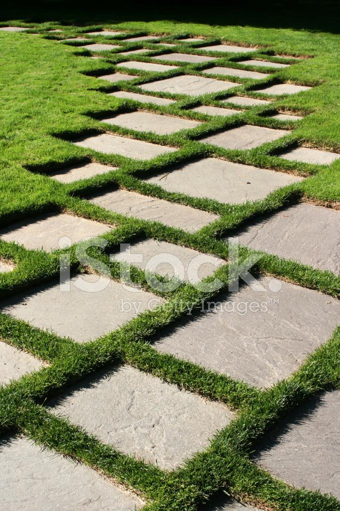 Geometryczne Kostka Brukowa Trawiasta Trawnik Zdjęcia Ze