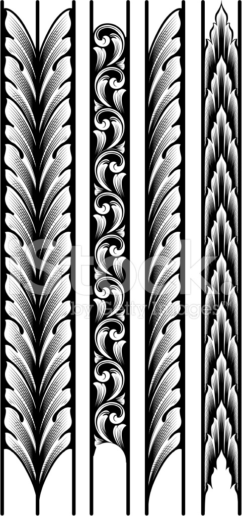 Engraved Leaf Borders 462358 on Swirl Border Pattern