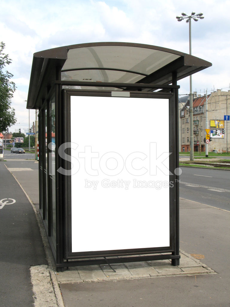 bus stop billboard with work path stock photos freeimages com