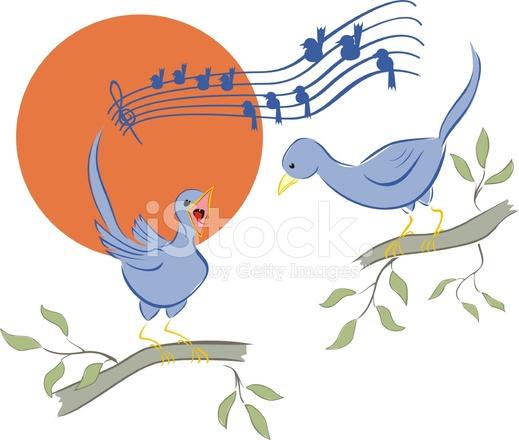 Dibujos Animados De Aves Pájaros Cantando En La Mañana Stock Vector