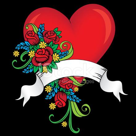 Tattoo Stijl Hart Roses Banner Stock Vector Freeimagescom