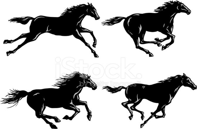 Wild Horse Running Silhouette