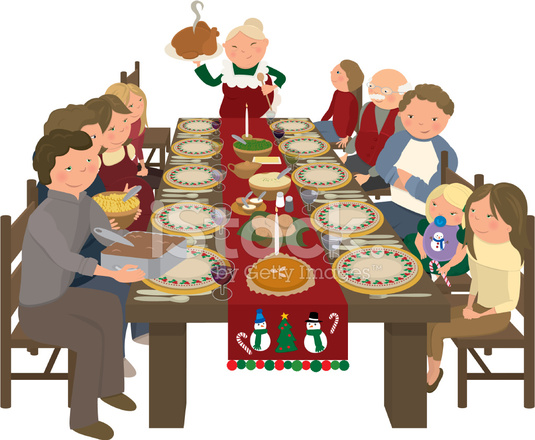 Family Christmas Dinner Table Stock Vector - FreeImages.com