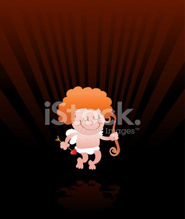 Cupid Engel Cartoon Illustration An Valentinstag Hintergrund Stock