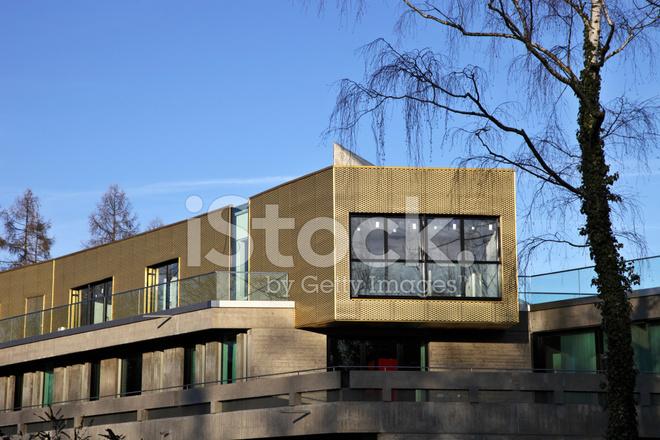 Moderne Beton Penthouse Architektur Mit Gold Fassade XXL