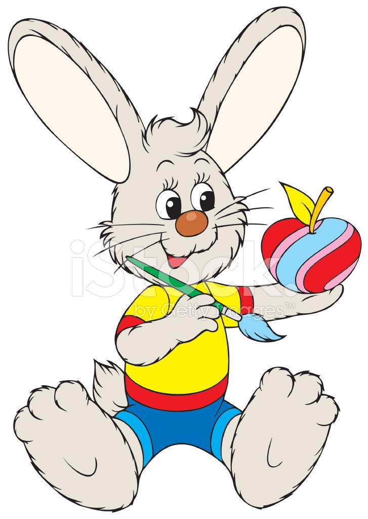 Easter Bunny Bir Elma Boyama Stock Vector Freeimagescom