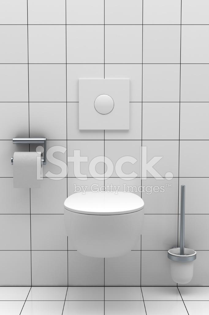 Moderno bagno con piastrelle bianche su parete e pavimento ...