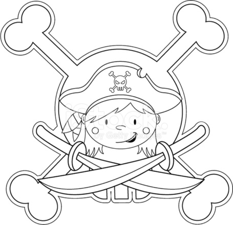 Colour IN Pirate Girl Icon Stock Vector - FreeImages.com
