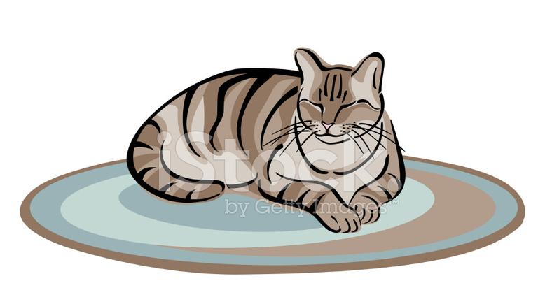 одна картинка толстая кошка сидит на коврике этой