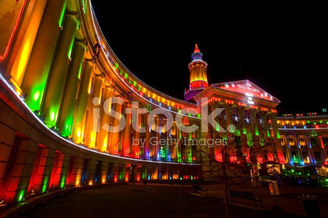 Denver City And County Building With Christmas Lights