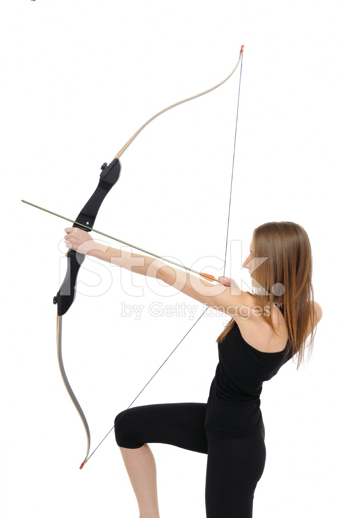Archery Kneeling Woman With Bow Stock Photos Freeimages Com