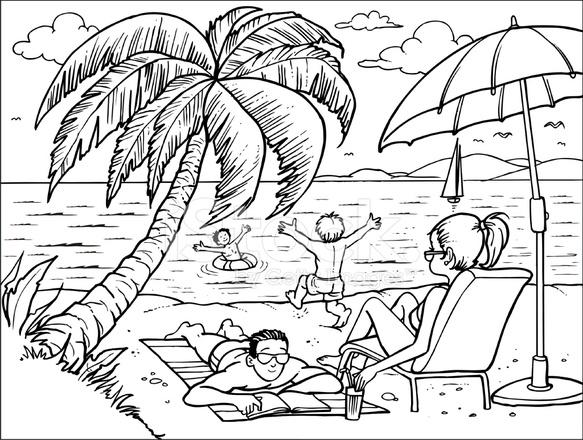 Семья на отдыхе рисунки карандашом
