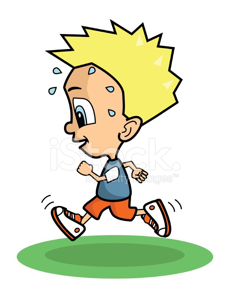 Cartoon Blonde Boy Running and Sweating Stock Vector ...
