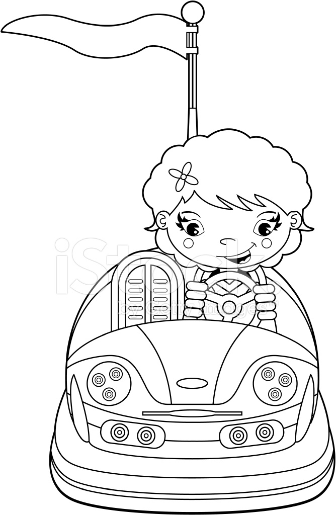 Colour ME Girl IN Dodgem Bumper Car Stock Vector