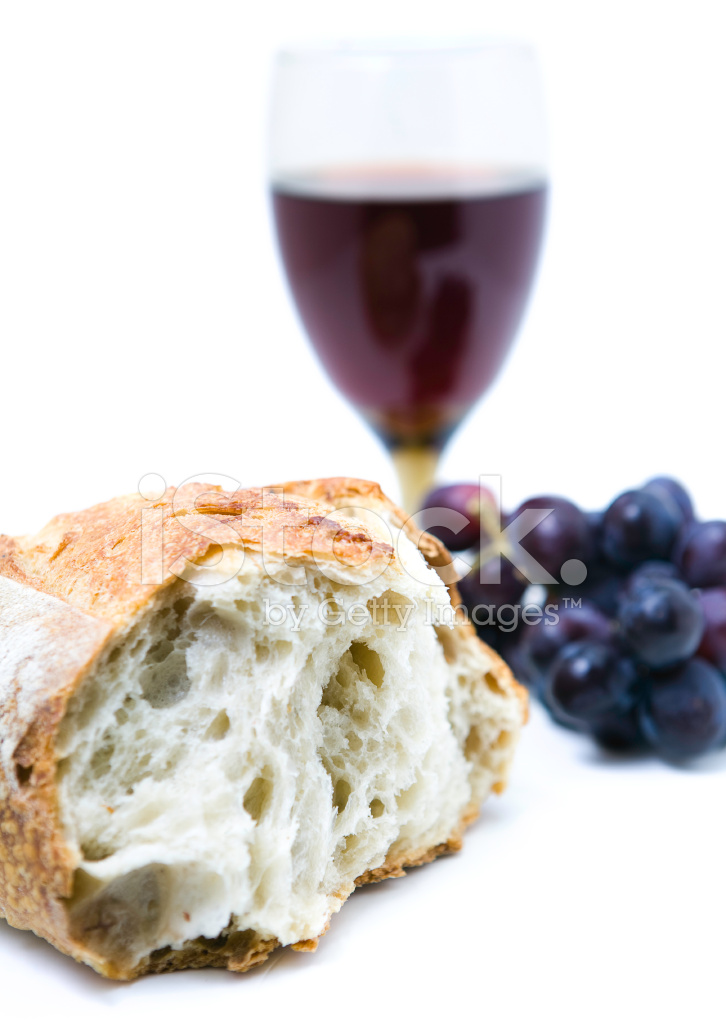 Communion Bread Wine And Grapes On White Background Stock Photos