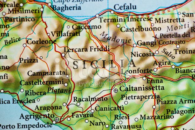 Cartina Sicilia Termini Imerese.Mappa Di Sicilia Italia Fotografie Stock Freeimages Com