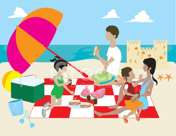 Familie Mit Picknick Am Strand Stock Vector Freeimages Com