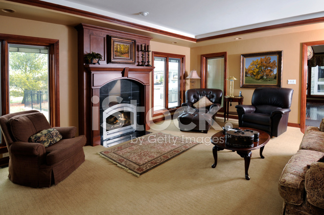Showcase Home Living Room Fireplace Carpet Hardwood Perfect Stock Photos