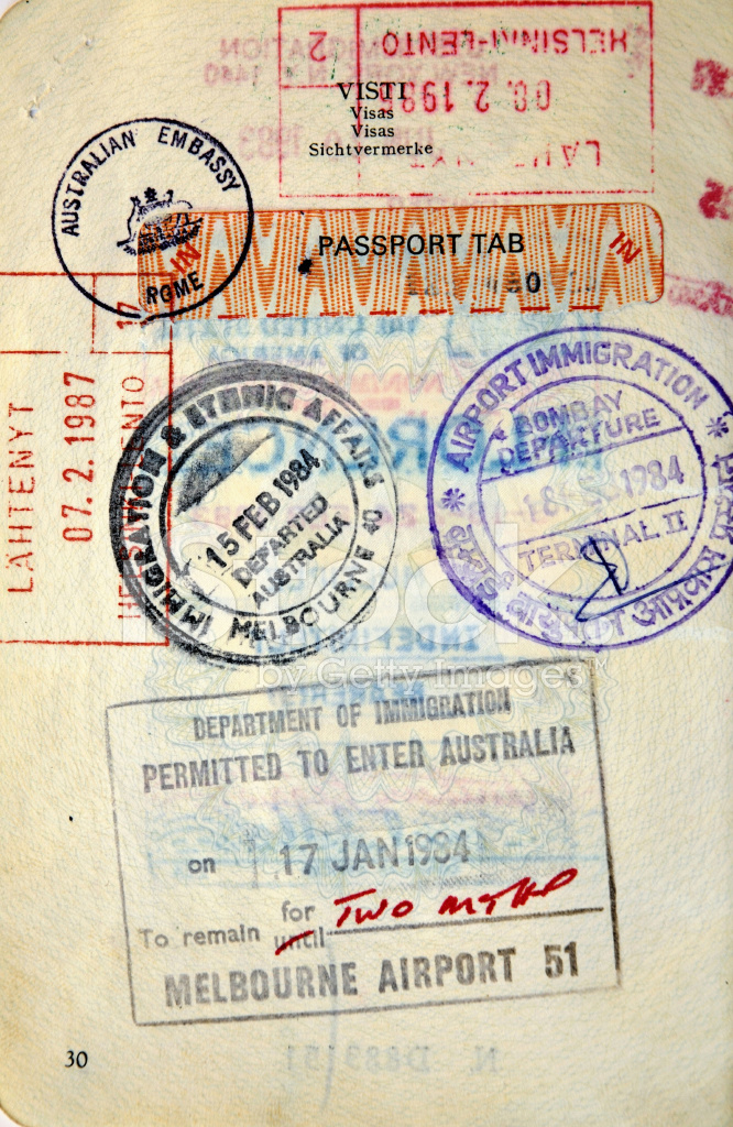 Italian Passport AustraliaFinland Border Stamps